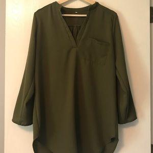 Tops - Olive Green chiffon tunic,large